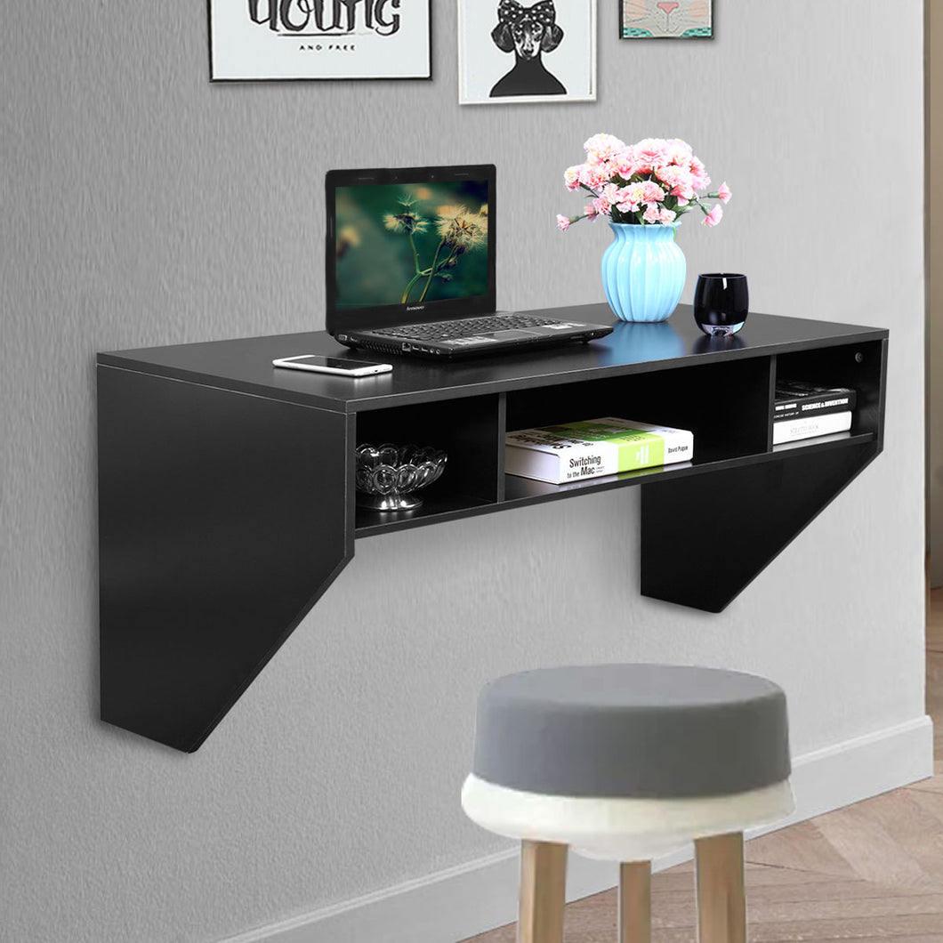 Wall Mounted Floating Computer Table Sturdy Desk Home Office Furniture With 3 Storage Compartments