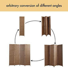 6ft Tall Folding Freestanding Privacy Screen 4-Panel Weave Fiber Room Divider for Living Room Bedroom Dining Room
