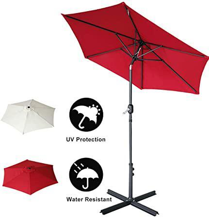 7.7ft Patio Umbrellas Market Yard Outdoor Table Umbrella with Push Button Tilt and Cross Base Wine Red