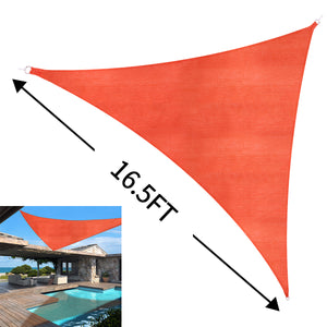 Sun Shade Sail Outdoor Top Canopy Patio UV Block 16.5' Triangle Orange-red
