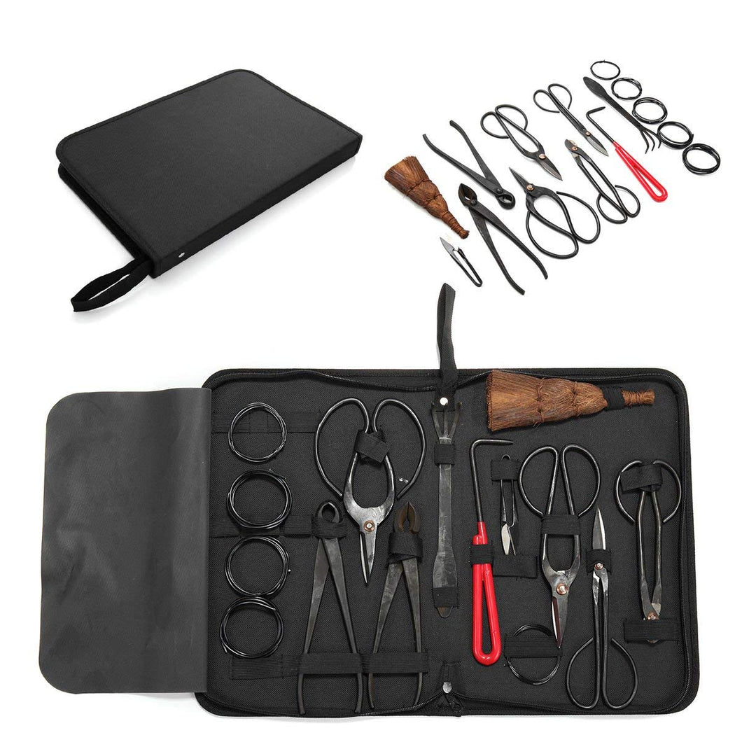 Carbon Steel Bonsai Tool Set 10-Pc Master Professional Shear and Brush Kit with Tool Roll Wires in Heavy Duty Nylon Case
