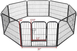 8-Panel Folding Exercise Pet Playpen 24 H Dog Fences Puppy Gate Home Indoor Outdoor