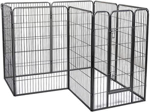 8-Panel Folding Exercise Pet Playpen 48 H Dog Fences Puppy Gate with Latch Door for Home Indoor Outdoor