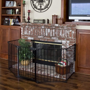 "25""x 30"" 5 Panel Baby Safety Fence Hearth Gate BBQ Fire Gate Fireplace Metal Plastic Pet Dog Cat"