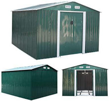 9.1' x 10.5' Large Outdoor Storage Steel Shed with Gable Roof 4 Vents a Double Sliding Door Stable Base Sturdy Green and White