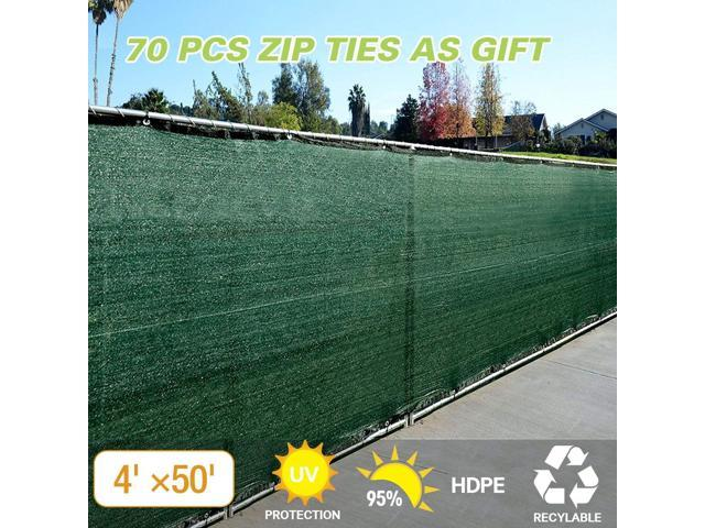 Dark Green 4'x 50' Fabric Fence Windscreen Privacy Screen Shade Cover for Patio Garden Tarp