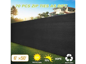 Dark Black 6'x 50' Fabric Fence Windscreen Privacy Screen Shade Cover for Patio Garden Tarp