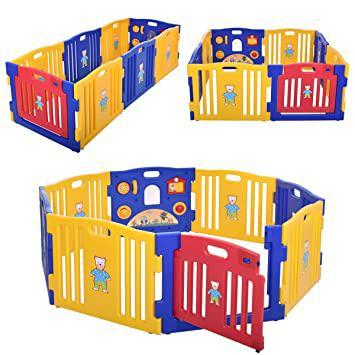 Baby Playpen Kids 8-Panel Safety Play Center Yard Home Indoor Outdoor New Pen Yellow Blue Red