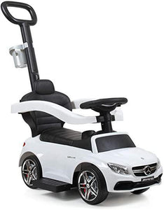 White Benz Kids Ride-On Push Car for Toddlers W/Handle and Cup Holder