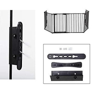 Black Fireplace Safety Fence Baby Gate Baby Play Yard with Door 6 Panels Safety Gate for Pet
