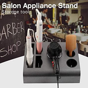 Black Iron Tabletop Hair & Blow Dryer Holder- Versatile Large Salon Appliance Stand Barber Shop Bathroom Bedroom