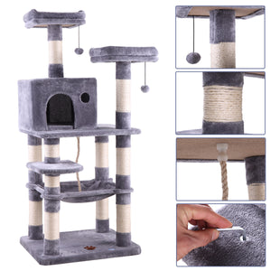 "58"" Cat Tree Scratcher House Condo Play Furniture Bed Post Pet House"