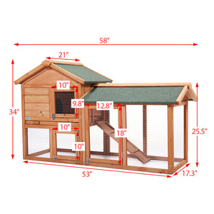 "Deluxe 58"" Wooden Chicken Coop Hen House Poultry Cage Hutch Built Nesting In Run"