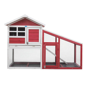 Outdoor Two-Story Rabbit Hutch Cage House with Slant Sunlight Panel, Spacious Exercise Run, and Comfortable Sleep Room, Red and White/Gray