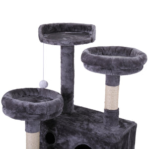 "Cat Tree 60"" Tower Condo Furniture Scratching Post Pet Kitty Play House Gray"