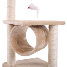 "Amusing 36"" Deluxe Cat Tree Condo Furniture House Tunnel Scratcher Pet Play Toy Beige"