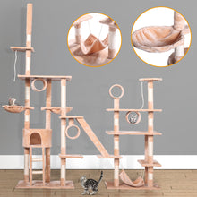 "103"" Large Pet Cat Tree Castle Play House Tower Condo Bed Scratching Post Beige"