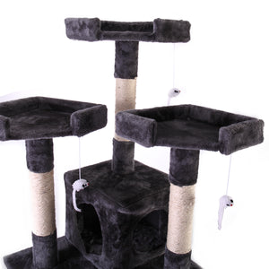 "67"" Cat Tree Condo Scratching Post Play House 3 Viewing Platforms"
