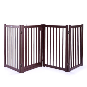 "30"" Wood Construction Pet Fence Gate Free Standing Dog Gate Indoor Solid"