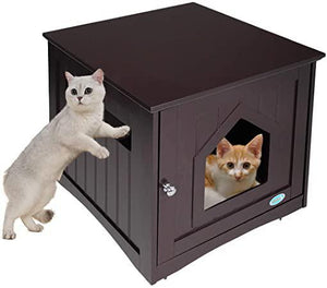 Cat Litter Box Enclosure Cat House Nightstand Indoor Pet Washroom Wood Cover