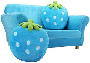 Children Couch Armrest ChairKids Sofa Double SeatsSolid Wood Toddler Lounger with 2 Lovely Strawberry Pillows