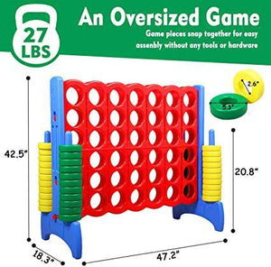 Classic Jumbo 4-to-Scor Game Set for All Ages Indoor and Outdoor Giant Game Set for Kids Adult and Family Backyard Games 42.5 Inch Tall  Colorful