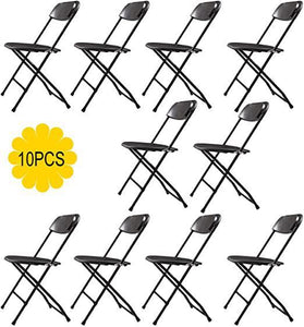 Commercial Plastic Folding Chairs Stackable Wedding Party Event Chair Black 10-Pack