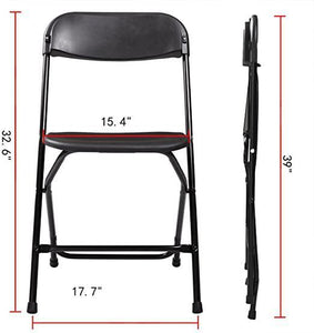 Commercial Plastic Folding Chairs Stackable Wedding Party Event Chair Black 20PCS