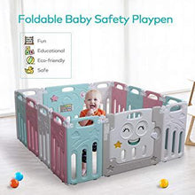 Cute Style 14-Panel Foldable Baby Playpen Adjustable Shape Safety Play Yard Activity Center for Babies wLocking Gate Multicolor Classic 14 Panels