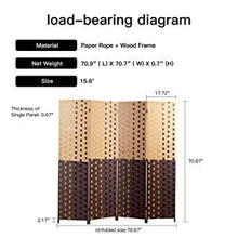 Dark Light Brown 6ft Tall Folding Freestanding Privacy Screen 4-Panel Weave Fiber Room Divider for Living Room Bedroom Dining Room