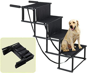 Dog Car Step Stairs Metal Frame Folding Pet Ramp for Indoor Outdoor Use Portable and Lightweight Great for Cars Trucks and SUVs- 4 Steps