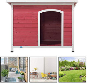 Dog Club House Outdoor Pet Shelter Home Outside Ground Wood Kennel Weather Resistant for Large Dogs to Relax and Sleep Red43.3 L x 29.5 W x 32.1 H