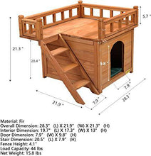 Dog Houses for Small Medium Dogs Indoor Outdoor Waterproof Wood Pet Furniture Wooden Cat Hut Shelter for Cat Kitten Puppy with Stairs Balcony
