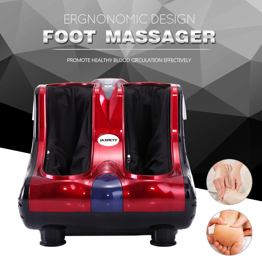 Shiatsu Kneading Rolling Vibration Heating Foot Calf Ankle Leg Massager Red / White