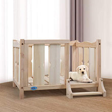 Elevated Open Wooden Dog Bed Frame Furniture wLadder for Small Pet Indoor DIY Ventilated Natural Wood Color 16 H