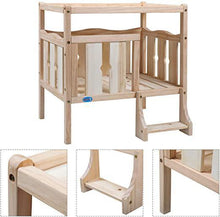 Elevated Wooden Dog Bed Furniture - Flat Top and Ladder for Small Pet DIY Ventilated IndoorOutdoor Natural Wood Color24 H