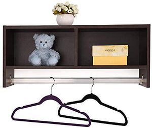 Entryway Hanging Shelf Hallway Wall Storage Organizer Rail Rack Shelf Brown