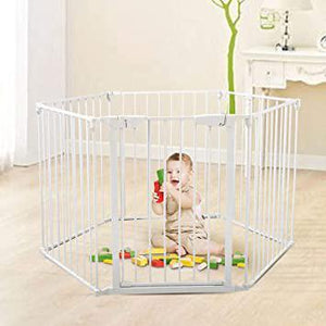 Fireplace Safety Fence Baby Pet Gate Baby Play Yard with Door 6 Panels Safety Hearth Gate