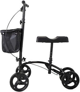 Folding Knee Walker Knee Scooter Crutches Alternative w 4 Wheels for Adults Foot Injuries Black