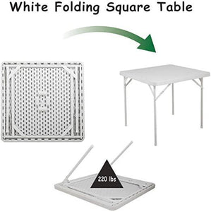Folding Square Table Plastic Dining Card Table with 4 Metal Legs for Indoor Outdoor Gathering Picnic Party 34 Inches White