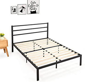 Full Size Bedroom Metal Platform Bed Frame Wood Slats Mattress FoundationBlack