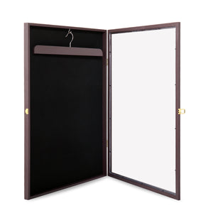 Jersey Shadow Box Wall Display Case Rack Frame LOCKABLE Football Baseball Brown