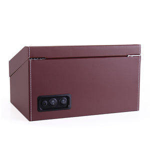Watch Winder Storage Display Case Box 4+6 Automatic Rotate Leather Wooden Brown