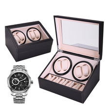 Watch Winder Storage Display Case Box 4+6 Automatic Rotate Leather Wooden Black