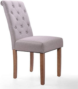 Gray High Back Button-Tufted Upholstered Fabric Dining Chairs Set of 2