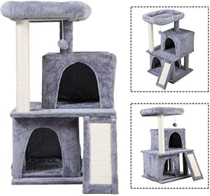 Grey 34 Cat Tree Kittens Activity Tower wCondo and Scratching Post Pet Play House
