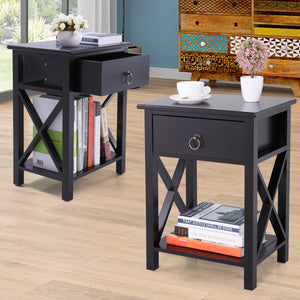 Set of 2 Finish Nightstand Bedside Table Shelf Bedroom Black End Side Storage