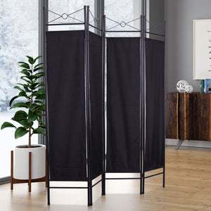 4 Panel Room Divider Privacy Folding Screen Durable Movable Partition Black