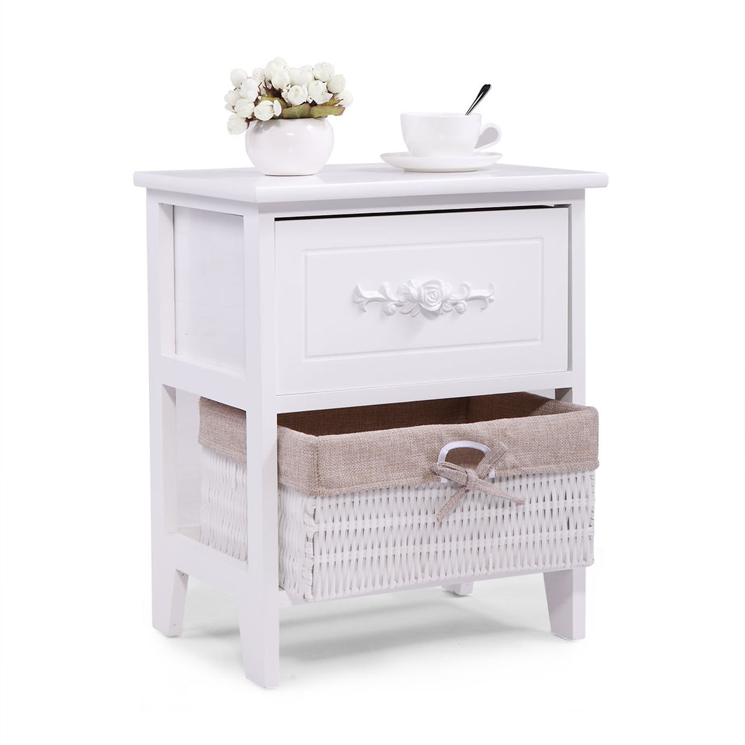Wood Nightstand End Tables Side Tables Fully Assembled with Wicker Basket for Bedroom
