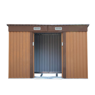 Outdoor Steel Garden Utility Tool Storage Shed Backyard Lawn Building Garage Shed Sliding Door 4.2' x 9.1'